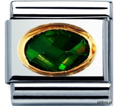 Nomination Element Link Gold Stones Szmaragdowa Cyrkonia