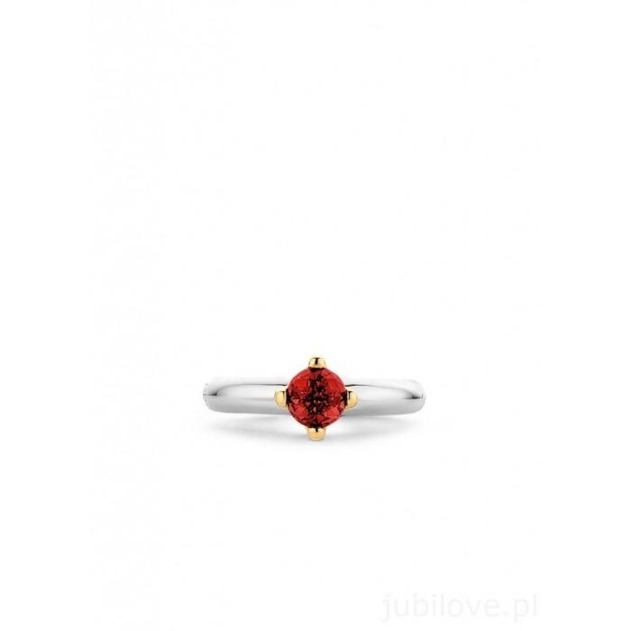 Pierścionek Ti Sento Srebrny Czerwony Kryształ