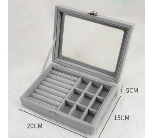 Szkatułka Pudełko Na Biżuterię Pastelowy Szary